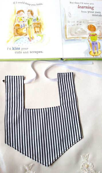Black/ White Stripe Reversible Luxe Bib
