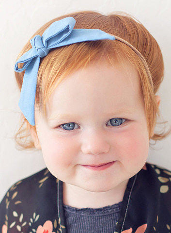 Lemon Drop - Baby Blue Bow Headband