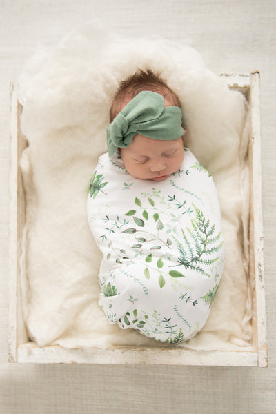 Enchanted Snuggle Swaddle with Olive Green Headband