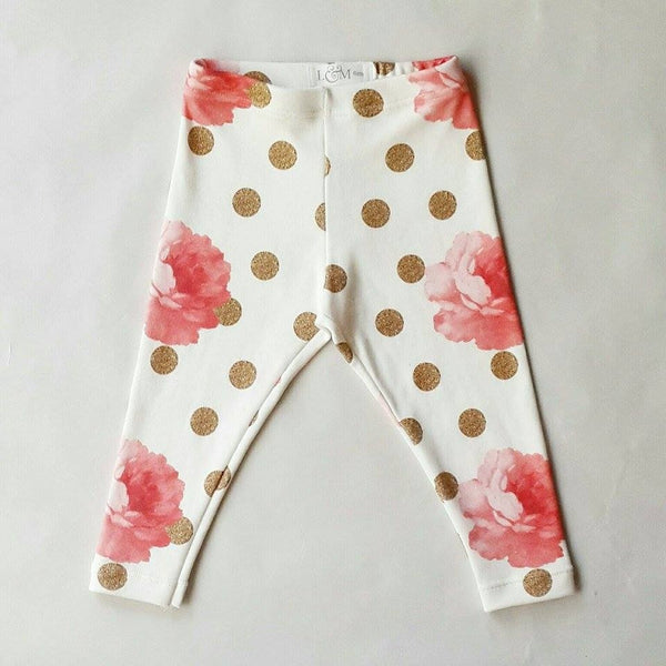 Organic Roses with gold dots Leggings