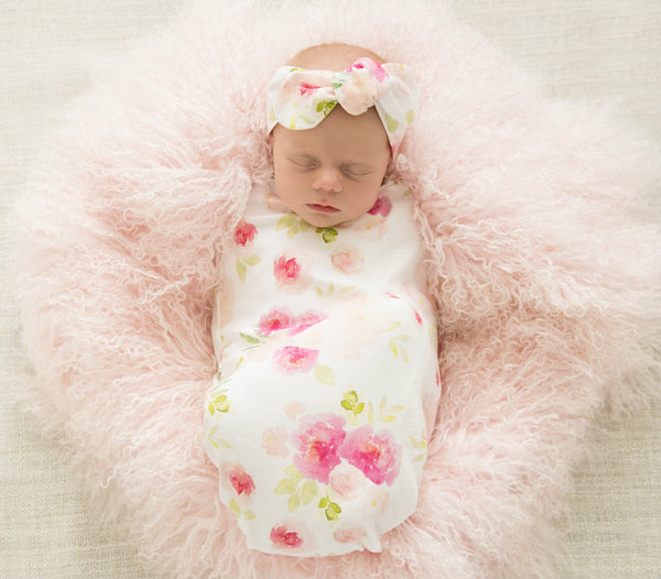 Hunny Blossom Snuggle Swaddle with Matching Headband