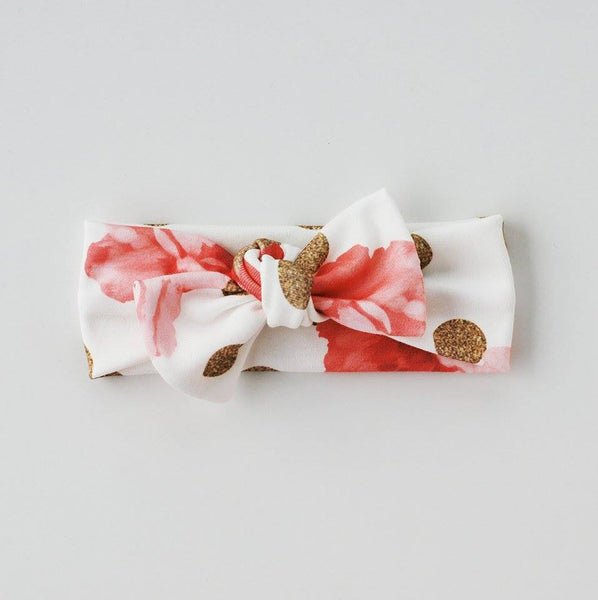 Organic Roses with Gold Dots Headband