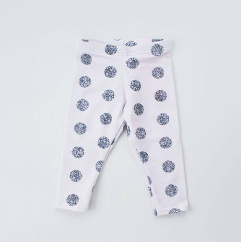 Organic Whisper Pink with Silver dots Leggings