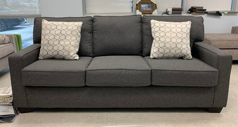 (0907 GREY- 10)- FABRIC- CANADIAN MADE- SOFA- WITH 2 PILLOWS