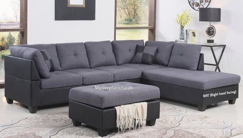(1111 GREY RHF)- FABRIC + PU LEATHER- SECTIONAL SOFA- WITH STORAGE OTTOMAN