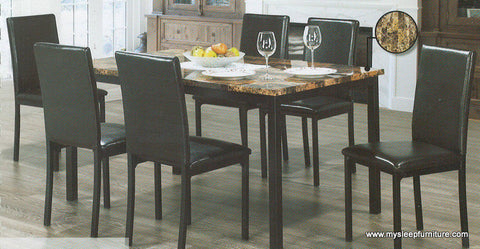 1017- MARBLE LOOK- DINING TABLE- WITH 6 PU LEATHER DINING CHAIRS