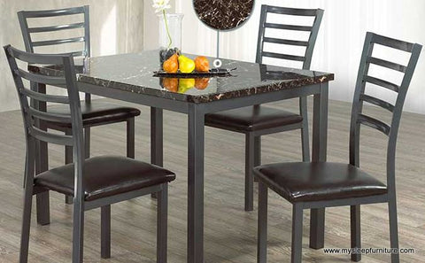1026- MARBLE LOOK- DINING TABLE- WITH 4 DINING CHAIRS