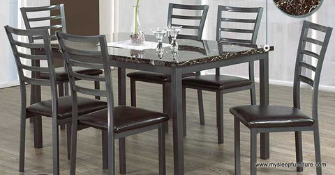 1027 MARBLE LOOK DINING TABLE WITH 6 DINING CHAIRS