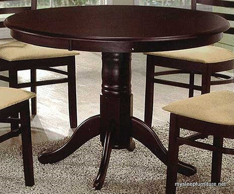 (1060 ESPRESSO)- ROUND- WOOD- PEDESTAL- DINING TABLE