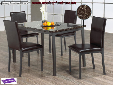 1036- MARBLE LOOK- DINING TABLE- WITH 4 PU LEATHER CHAIRS