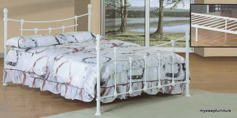 107- WHITE COLOR- METAL BED FRAME- WITH PLATFORM- TWIN, DOUBLE, QUEEN SIZES