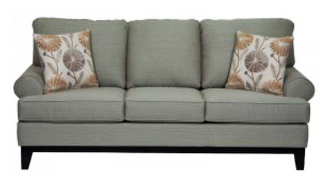 1102- GREY COLOR- CANADIAN MADE- FABRIC SOFA- WITH 2 PILLOWS
