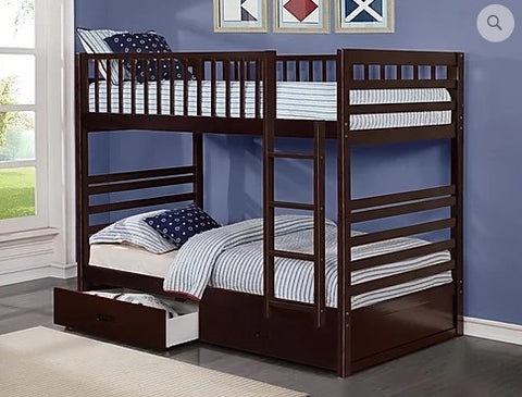 TWIN/ TWIN- (110 ESPRESSO)- WOOD- BUNK BED- WITH DRAWERS