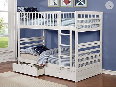 TWIN/ TWIN- (110 WHITE)- WOOD- BUNK BED- WITH DRAWERS