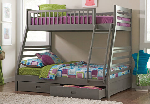 TWIN/ DOUBLE- (117 GREY)- WOOD- BUNK BED- WITH DRAWERS- out of stock until january 7, 2021