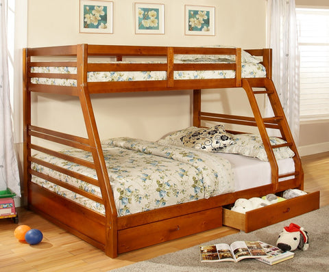 TWIN/ DOUBLE- (117 HONEY OAK)- WOOD- BUNK BED- WITH DRAWERS