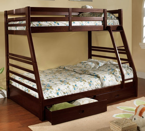 TWIN/ DOUBLE- (117 ESPRESSO)- WOOD- BUNK BED- WITH DRAWERS