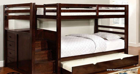 TWIN/ TWIN- 118- STAIRCASE- WOOD- BUNK BED- WITH 4 DRAWERS ON THE SIDE (WITHOUT TRUNDLE BED)