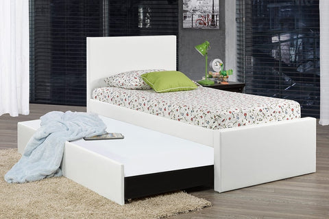 DOUBLE (FULL) SIZE- (120R WHITE)- LEATHER- CANADIAN MADE- TRUNDLE BED