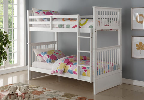 TWIN/ TWIN- (121 WHITE)- WOOD- BUNK BED- WITH SLATS- will be available after september 16, 2020