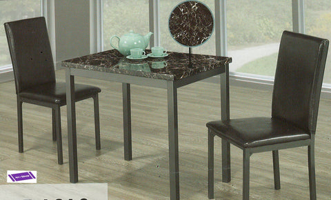 1210- MARBLE LOOK- DINING TABLE- WITH 2 CHAIRS