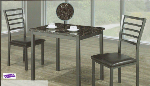 (1211- 3)- MARBLE LOOK- DINING TABLE- WITH 2 METAL CHAIRS