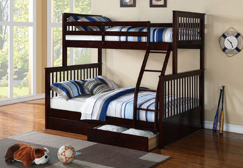 TWIN/ DOUBLE- (122 ESPRESSO WITH DRAWERS)- WOOD- BUNK BED- WITH SLATS