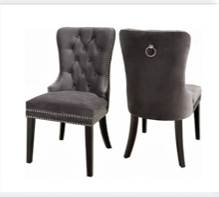 (1220 GREY- 2 PACK)- VELVET FABRIC- DINING CHAIRS
