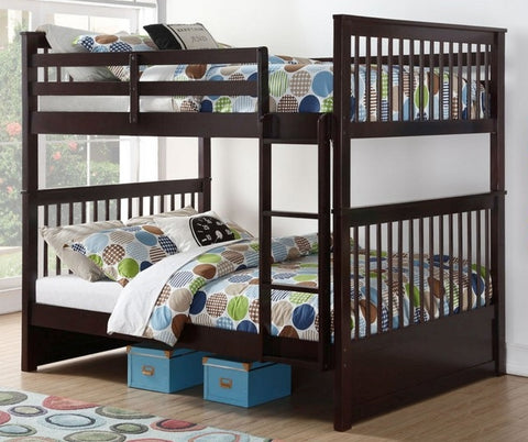 DOUBLE/ DOUBLE- (123 ESPRESSO)- WOOD- BUNK BED