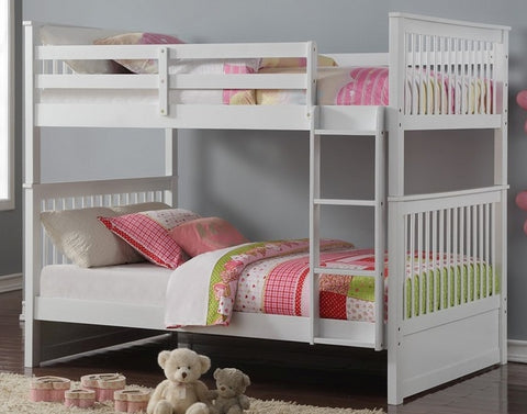 Double Double 123 White Color Solid Wood Bunk Bed Mysleep