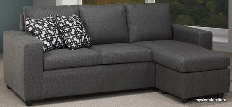 (1230 GREY)- FABRIC- REVERSIBLE- SECTIONAL SOFA- WITH 2 PILLOWS- out of stock until june 1, 2021
