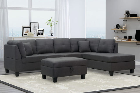 (1232 GREY)- FABRIC- REVERSIBLE- SECTIONAL SOFA- WITH STORAGE OTTOMAN- will be available after september 26, 2020