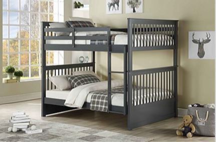 DOUBLE/ DOUBLE- (123 GREY)- WOOD- BUNK BED