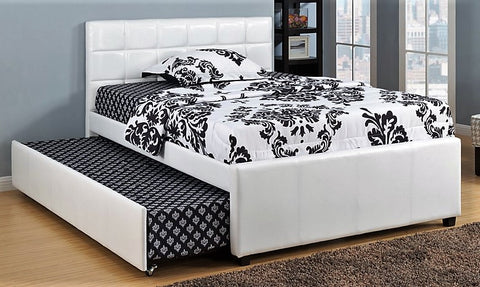 TWIN (SINGLE) SIZE- (124 WHITE)- LEATHER- TRUNDLE BED- out of stock until june 21, 2021