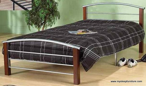 QUEEN SIZE- 127- SILVER- METAL- BED FRAME- WITH CHERRY WOOD POSTS