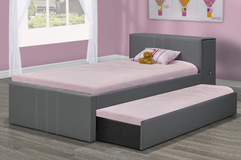 DOUBLE (FULL) SIZE- (128R GREY)- LEATHER- CANADIAN MADE- TRUNDLE BED
