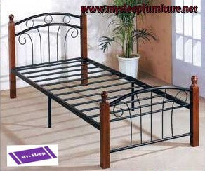 128- BLACK METAL- BED FRAME- CHERRY WOOD POSTS- TWIN, DOUBLE, QUEEN SIZES