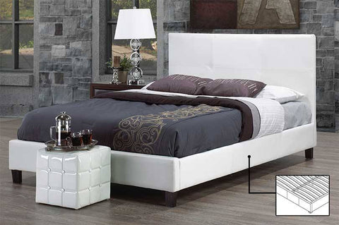 KING SIZE- (130 WHITE)- PU LEATHER- BED FRAME- WITH SLATS