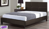 KING SIZE- (130 ESPRESSO)- LEATHER- BED FRAME- WITH SLATS