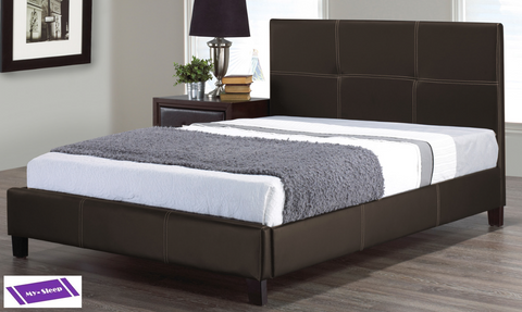 QUEEN SIZE- (130 ESPRESSO)- PU LEATHER- BED FRAME- WITH SLATS