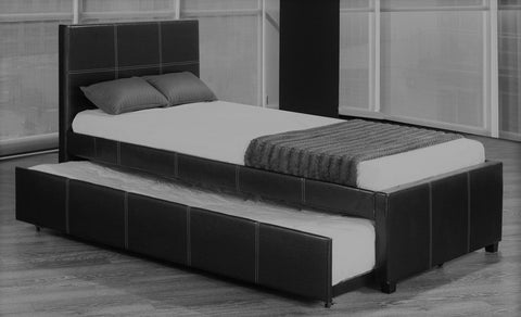 TWIN (SINGLE) SIZE- (132 BLACK)- LEATHER- TRUNDLE BED