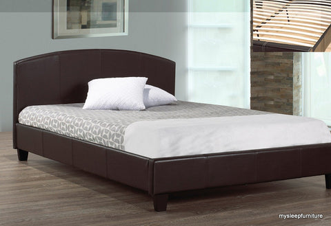 TWIN (SINGLE) SIZE- (133 ESPRESSO)- LEATHER- BED FRAME- WITH SLATS