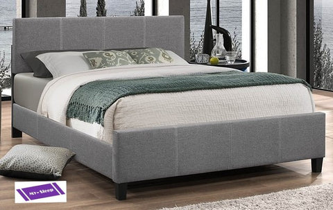 TWIN (SINGLE) SIZE- (137 LIGHT GREY)- FABRIC- BED FRAME- WITH SLATS