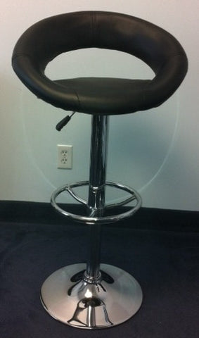 (138 BLACK)- PU LEATHER- ADJUSTABLE- SWIVEL- BAR STOOL