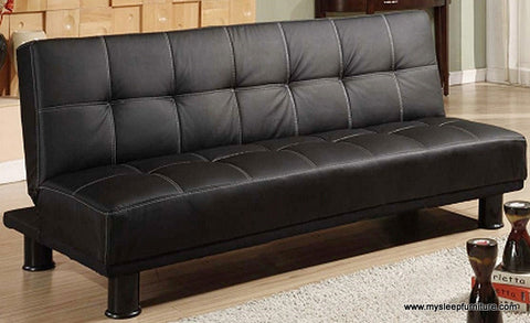 1500- BLACK COLOR- PU LEATHER- KLIK KLAK SOFA BED- WITH WHITE STITCHING