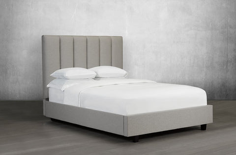 KING SIZE- (153R GREY)- LINEN FABRIC- CANADIAN MADE- BED FRAME- WITH SLATS- (DELIVERY AFTER 2 MONTHS)
