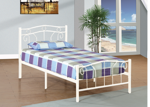 TWIN (SINGLE) SIZE- (155 WHITE)- METAL- BED FRAME- WITH SLATTED PLATFORM
