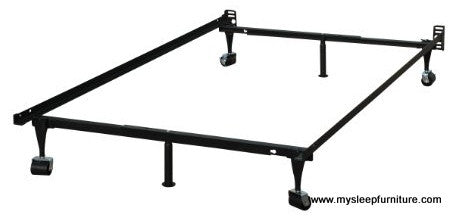 TWIN- DOUBLE- QUEEN- (15F WITH WHEELS)- METAL BED FRAME (BOXSPRING REQUIRED)