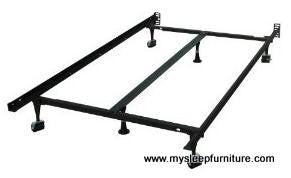 METAL BED FRAME- (16F- WITH WHEELS)- WITH MIDDLE SUPPORT- ADJUSTABLE- CAN BE MADE TWIN, DOUBLE, QUEEN SIZES