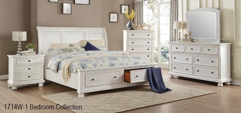 QUEEN SIZE- 1714W- WHITE COLOR- WOOD- 8 PC. BEDROOM SET- WITH DRAWERS